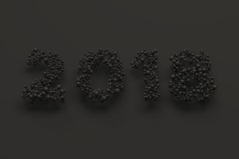 2018 number from black balls on black background Foto