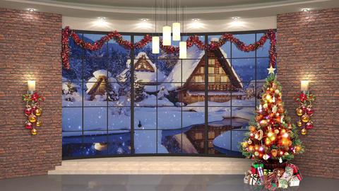 91HD Christmas TV Virtual Studio Green Screen Background Bricks Xmas Tree Animation