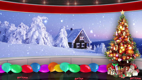 93HD Christmas TV Virtual Studio Green Screen Background Red Xmas Tree Gifts Animation