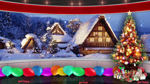 95HD Christmas TV Virtual Studio Green Screen Background Xmas Tree Gifts Animation