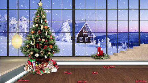 96HD Christmas TV Virtual Studio Green Screen Background Xmas Tree Gifts CG動画素材
