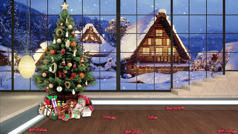 98HD Christmas TV Virtual Studio Green Screen Background Xmas Tree Gifts Animation