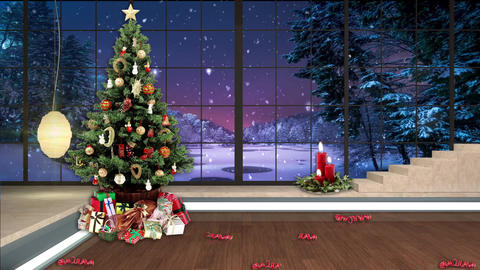 99HD Christmas TV Virtual Studio Green Screen Background Xmas Tree Gifts Animation