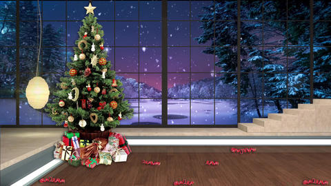 100HD Christmas TV Virtual Studio Green Screen Background Xmas Tree Gifts Animation