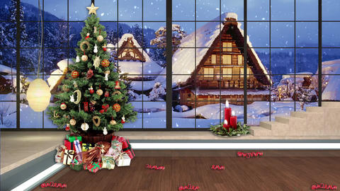 101HD Christmas TV Virtual Studio Green Screen Background Xmas Tree Gifts Animation