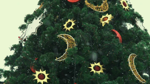New Year decorative Christmas tree with decorations and snow falling Live Action