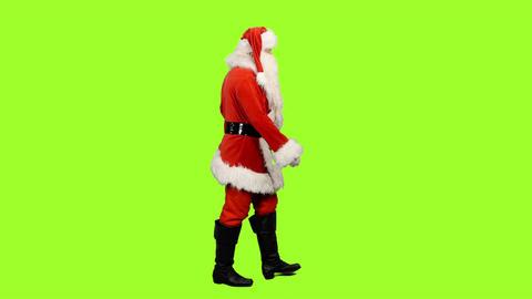 Side view of walking Santa Claus on green background, Chroma key Bild