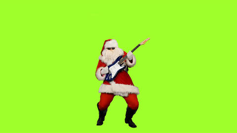 Santa in sunglasses playing guitar at christmas party on green background Footage
