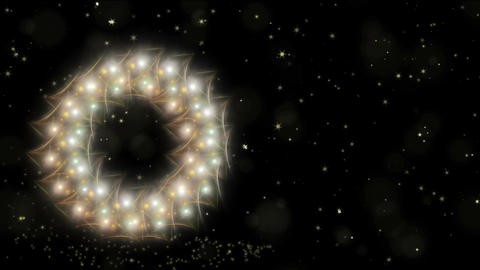 Dynamic Christmas wreath, white and golden with stardust, dots of light, starry Animation
