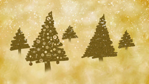 Golden brown Christmas trees on the snowy magical day Animation