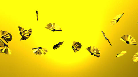 Golden Fans On Yellow Background CG動画