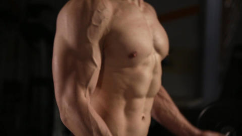Handsome man with big muscles, posing in the gym muscular man lifting weights Footage