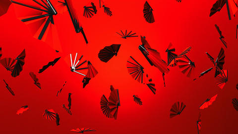Red Fans On Red Background Stock Video Footage