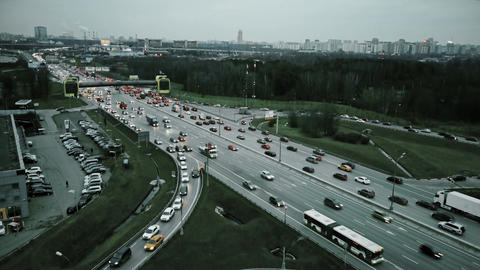 Aerial view of congested road traffic at big highway intersection Footage