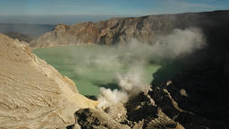 Kawah Ijen, Volcanic crater, where sulfur is mined Footage