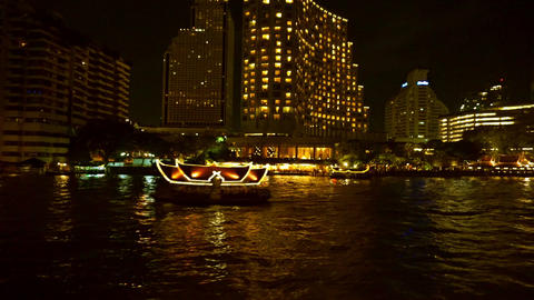Night Chao Phraya river view in cruise ship at Thailand Footage