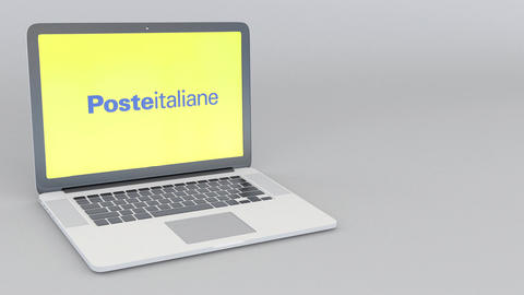 Opening and closing laptop with Poste Italiane logo. 4K editorial animation Archivo