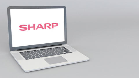 Opening and closing laptop with Sharp Corporation logo. 4K editorial animation Live Action