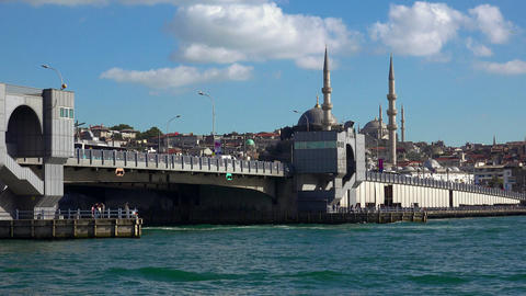 Galata Bridge in Istanbul. Turkey.4K Footage