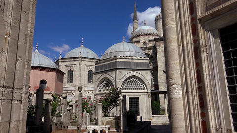 Muslim cemetery at the mosque. Istanbul. Turkey.4K Footage
