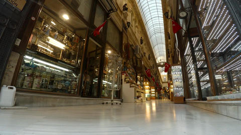 Gallery, shopping arcade on Istiklal Street in Istanbul. Turkey. 4K Footage
