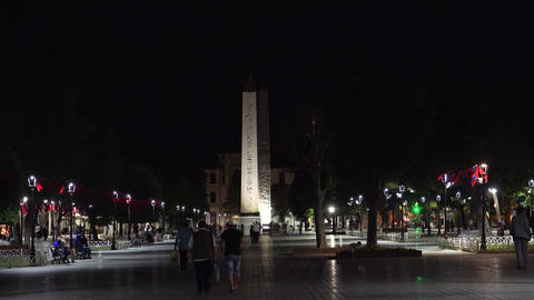 Istanbul Turkey Obelisk of Theodosius park. Night. 4K Footage