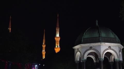 German fountain. Istanbul. Night. Turkey. 4K Footage