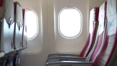 Airplane windows and seat Live Action
