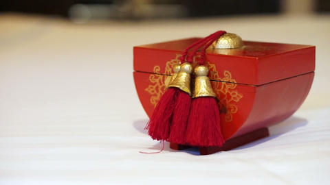 Video of red and gold Chinese wooden box ビデオ
