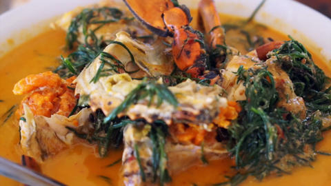 Thai cuisine, Seafood blue crab with spicy coconut curry soup and vegetable Live Action