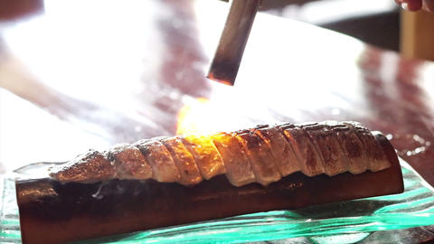 Fire grilled pickled Mackerel, yaki saba Sashimi, Japanese food Footage