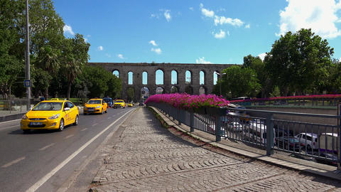 The Roman aqueduct of Valente in Istanbul. Turkey. 4K Footage