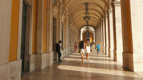 Commerce Square, Lisbon, Portugal Footage