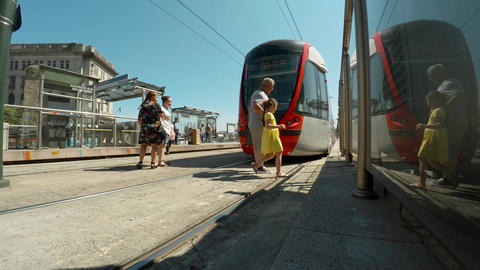 Metro train on the street of Istanbul. 4K Footage