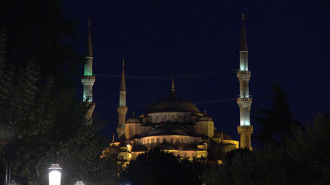 Blue Mosque. Night. Sultan Ahmed Mosque in Istanbul. Turkey. 4K Footage