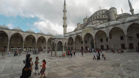 Blue Mosque. Sultan Ahmed Mosque in Istanbul. Turkey. 4K Footage