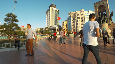 Taksim Square in Istanbul. 4K Footage