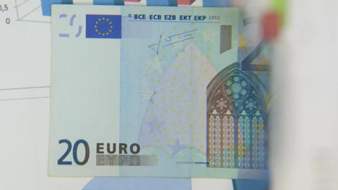 Consider a banknote of twenty euros, an increase with a magnifying glass Footage