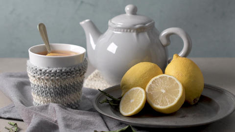 Cup of hot tea with lemon Footage