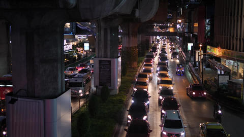 Bangkok, Thailand - 21 OCT 2017: Night Road traffic in BKK City Near Shopping Footage