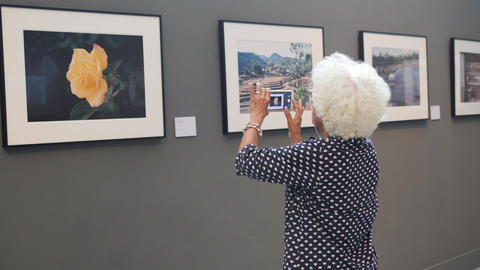 Elderly Woman Takes Photos of Pictures with Mobile Phone in Art Museum. 4K Footage