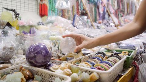 Young Woman Shopping Handmade Thai Souvenirs at Asian Night Market. Bangkok Footage