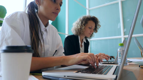 Attractive Young Mixed Race Girls Working Hard and Typing on Laptops in Office Footage