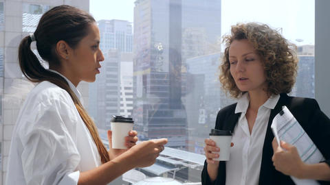 Young Mixed Race Woman Showing Documents and Shaking Hands with Her Boss in Footage