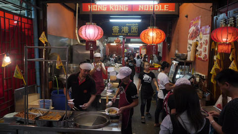 Chinese Cafe in China Town Street near Khao San Road, a Popular Destination and Footage