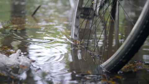 Flooded City Road After Heavy Storm. Bicycle Parked in Deep Waters Footage