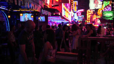 Soi Cowboy Street. Popular Sexual Tourism Place in Asia. 4K. Bangkok, Thailand - Footage