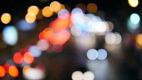 Beautiful Urban Bokeh Background. Blured Night Traffic Car Lights on Busy Street Footage