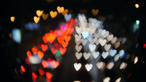 Amazing Hearts Bokeh from Car Lights at Night Street Traffic Jam in Bangkok Footage