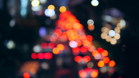 Amazing Blur Cars Night Traffic Lights Bokeh on Busy Street in Bangkok, Thailand Footage